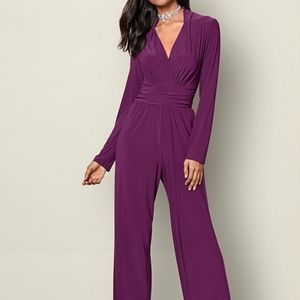 Venus Waist Detail Jumpsuit, Dark Purple/Plum, M